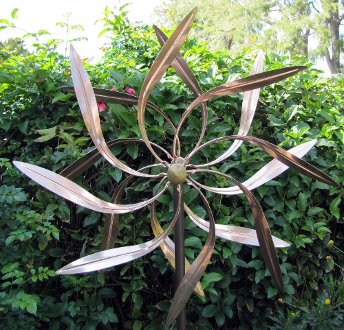Copper Spinner (Stanwood Wind Sculpture Kinetic Copper Wind Sculpture, Dual Spinner Dancing Willow Leaves)