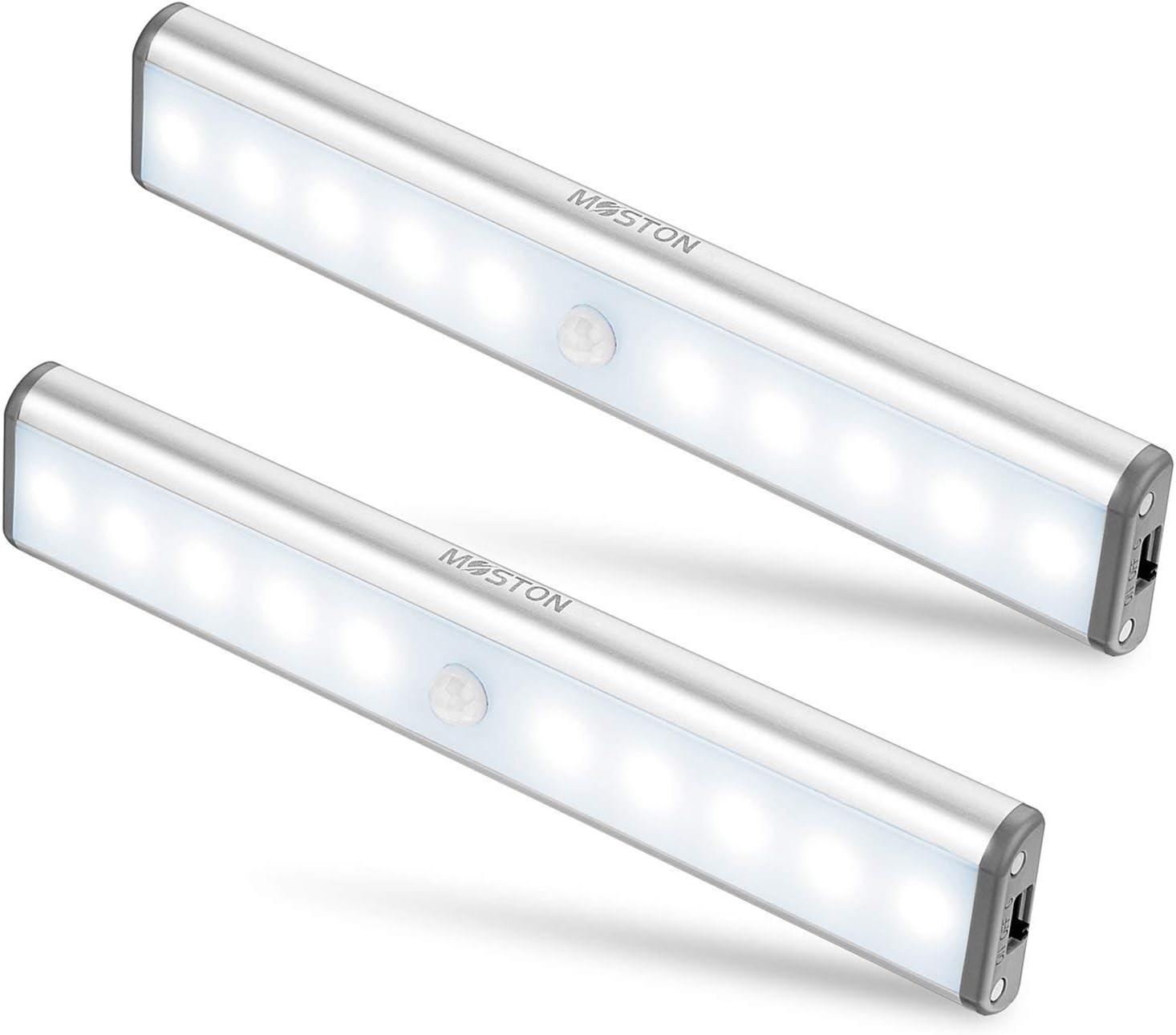 Moston 10 LED USB Recargable magnético Movimiento Sensor Luces nocturnas,oscuridad a amanecer Célula fotoeléctrica incluido Auto en/apagado Portátil Sin cable,palo en cualquier sitio para armario