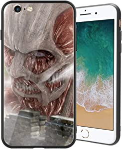 for iPhone6/6s, Attack on Titan (Shiso no Kyojin) Design 388 Tempered Glass Phone Case, Anti-Scratch Soft Silicone Bumper Ultra-Thin iPhone6/6s Cover for Teens and Adults