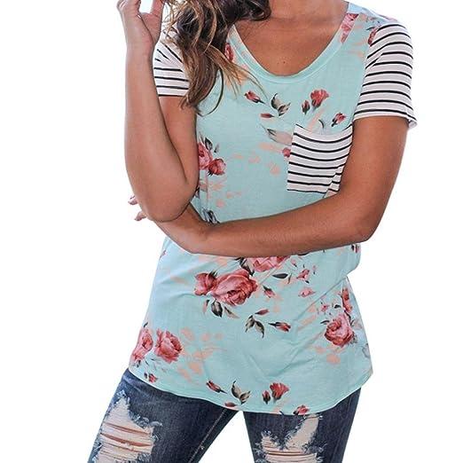 90bd2b1859477 YANG-YI Women Stripe Short Sleeve Flower Printed T-Shirt Polyester Blouse  Casual Tops