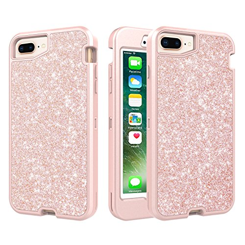 iPhone 7 Plus, iPhone 8 Plus, iPhone 6S Plus/6 Plus(5.5inch) Glitter Bling Case, Three Layer Hybrid Secure Grip Drop Protection, Raised Lip Screen Frame Protection - Rose Gold