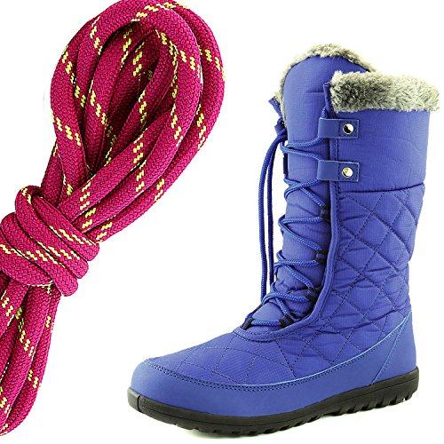 Dailyshoes Donna Comfort Punta Rotonda Metà Polpaccio Caviglia Alta Eskimo Inverno Neve Stivali Di Pelliccia, Hot Pink Lime Royal Blue