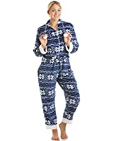 Camille Women's Ladies Blue And White Nordic Supersoft All In One Onesie