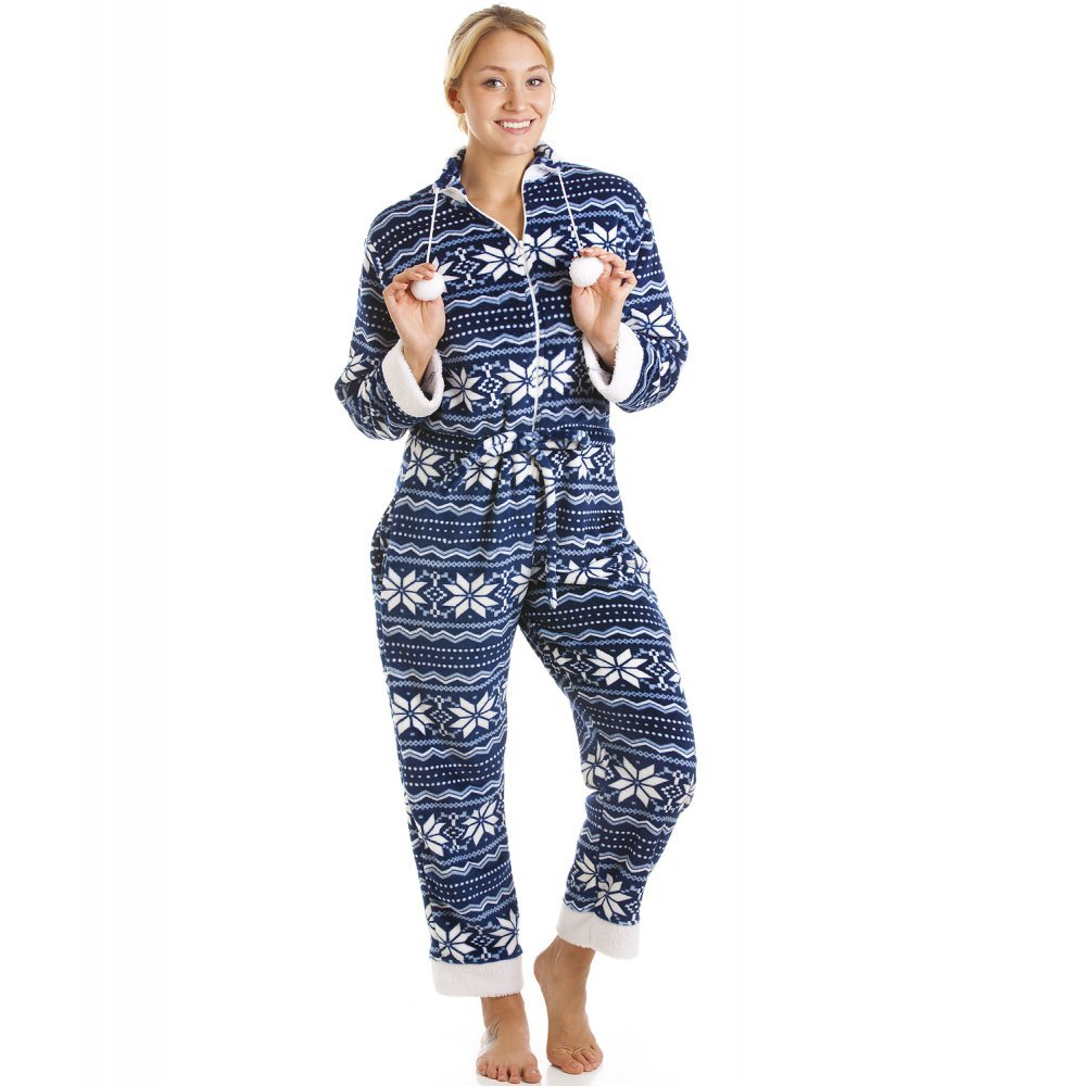 Camille Womens Blue And White Nordic Soft Silk Touch Onesie
