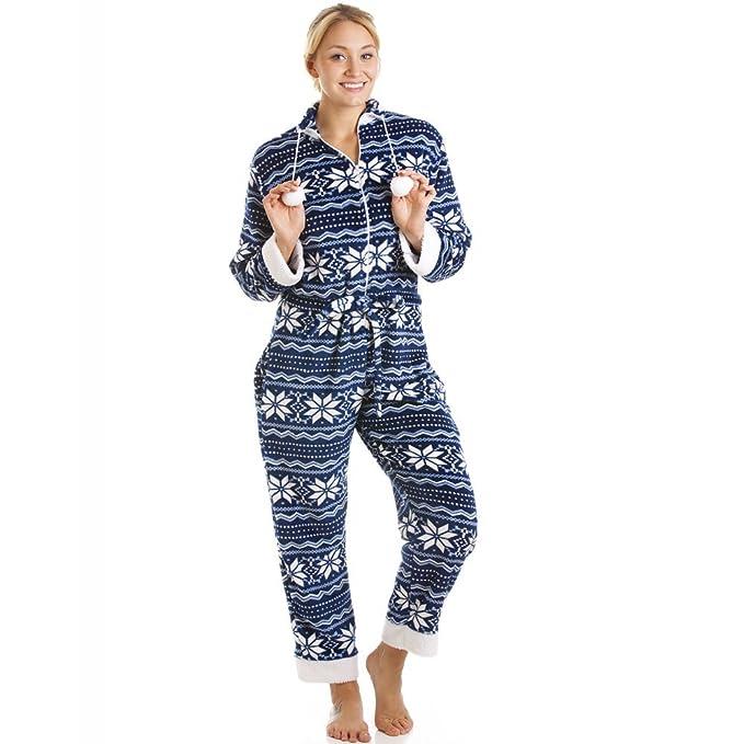 Camille - Pijama de una pieza suave para mujer - Estampado nórdico - Azul y blanco