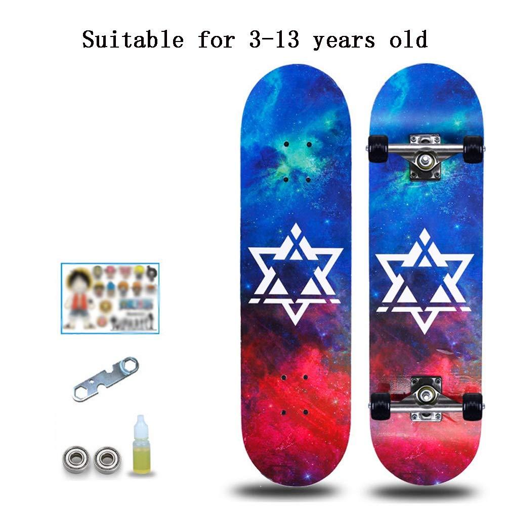 CHENGGUO 4 cicli di Skateboarding Professionale, Bambini Piccoli e Principianti Skateboard Doppio, Adatto a Bambini di età Compresa tra 3 e 13 Anni (colore   A)