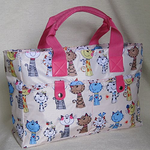 Knitting Light Beach Bag Very wipe Silver strong Happy and Cats Floral Bag cleanable handbag SqSgHU