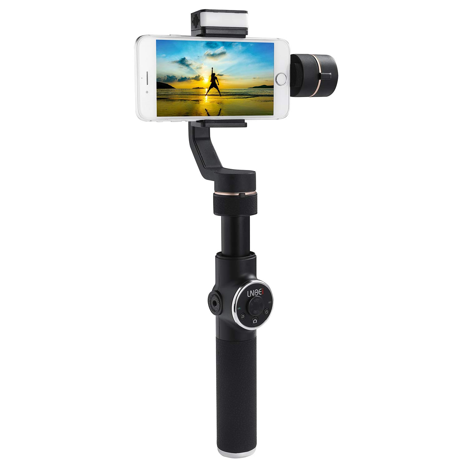 LNBEI L5 3-Axis Handheld Gimbal Stabilizer Lighting Zoom Face Tracking Time-Lapse Portable PTZ Stabilizer Panorama Mode Gopro Sports Camera for Phone 8 X Xs Max Xr X 8 Plus 7 6 Smartphone