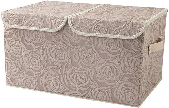 Grandes compartimentos de almacenamiento plegables con tapa Organizador de cubos de la caja de almacenamiento decorativa para el dormitorio en casa Guardería (Rosa): Amazon.es: Amazon.es