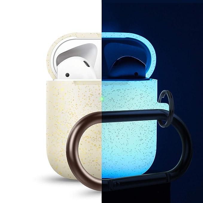 elago Custodia in Silicone da Appendere Compatiblile con Apple AirPods 1 andamp; 2 (LED anteriore Visibile) - [Funziona la Ricarica Wireless] [Moschettone Aggiunto] - Nightglow Oro Pearl