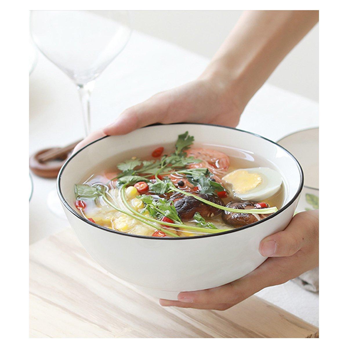 Salad Bowl Soup Bowls 3-Pack-50 Ounce Big Stackable Round White Fine Porcelain,Pasta Bowl Serving Set