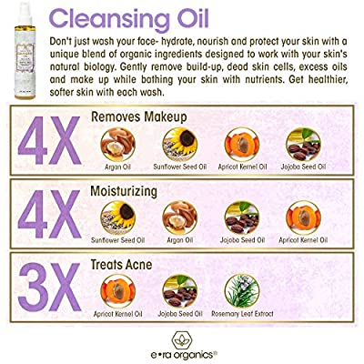 Facial Cleansing Oil & Makeup Remover- Premium Natural & Organic Moisturizing Face Wash For Dry, Sensitive Skin With Organic Argan Oil, Apricot Oil, Jojoba Oil, Rosemary Extract 147.8 mL / 5 Oz