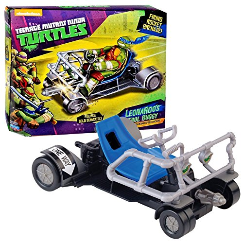 Playmates Year 2014 Teenage Mutant Ninja Turtles TMNT Vehicle Set - Pavement Pounding Speed Machine LEONARDO'S PATROL BUGGY with Missile Launcher