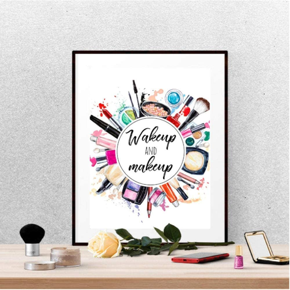 Wake up and Makeup Canvas Poster Beauty Room Wall Art Prints
