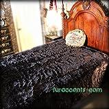 Fur Accents Faux Fur Queen Size Bedspread / Throw Blanket / Black 90'' X 96'' Queen Size