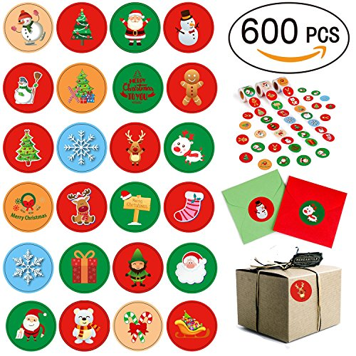 Moon Boat 600PCS Christmas Holiday Stickers Roll - Card Envelopes Stocking Xmas Party Favors Supplies