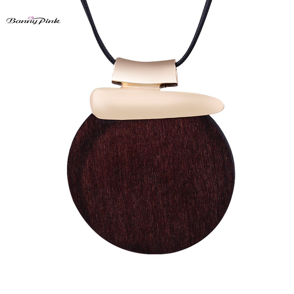 Ethnic Round Wood Pendant Necklace For Women Vintage Long Rope Chain Necklace Chunky Pendant Necklace Fashion Jewelry Colliers