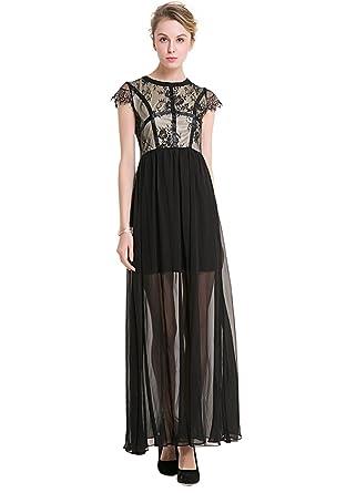 YueLian Damen Sommer Erwachsene Partykleid mit Kurzärmel Sommerkleid ...