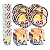 Nautical Sailor Birthday Party Supplies Set Plates Napkins Cups Tableware Kit for 16