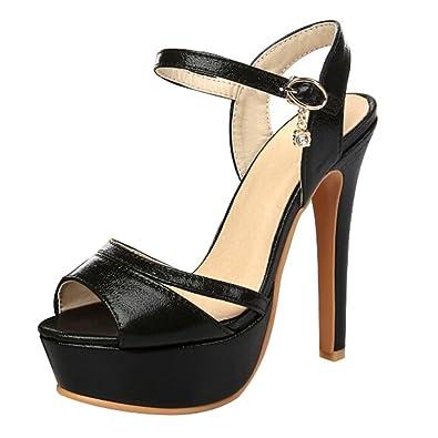 1cbafcb6e AYMYPL Women's Patent Peep Toe Platform Block High Heel Sandals Dress Party Shoes  Black CN Size