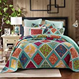 DaDa Bedding Collection Reversible Real Patchwork Cotton Fairy Forest Glade Floral Quilt Bedspread Set, Turquoise & Purple, Cal King, 3-Pieces