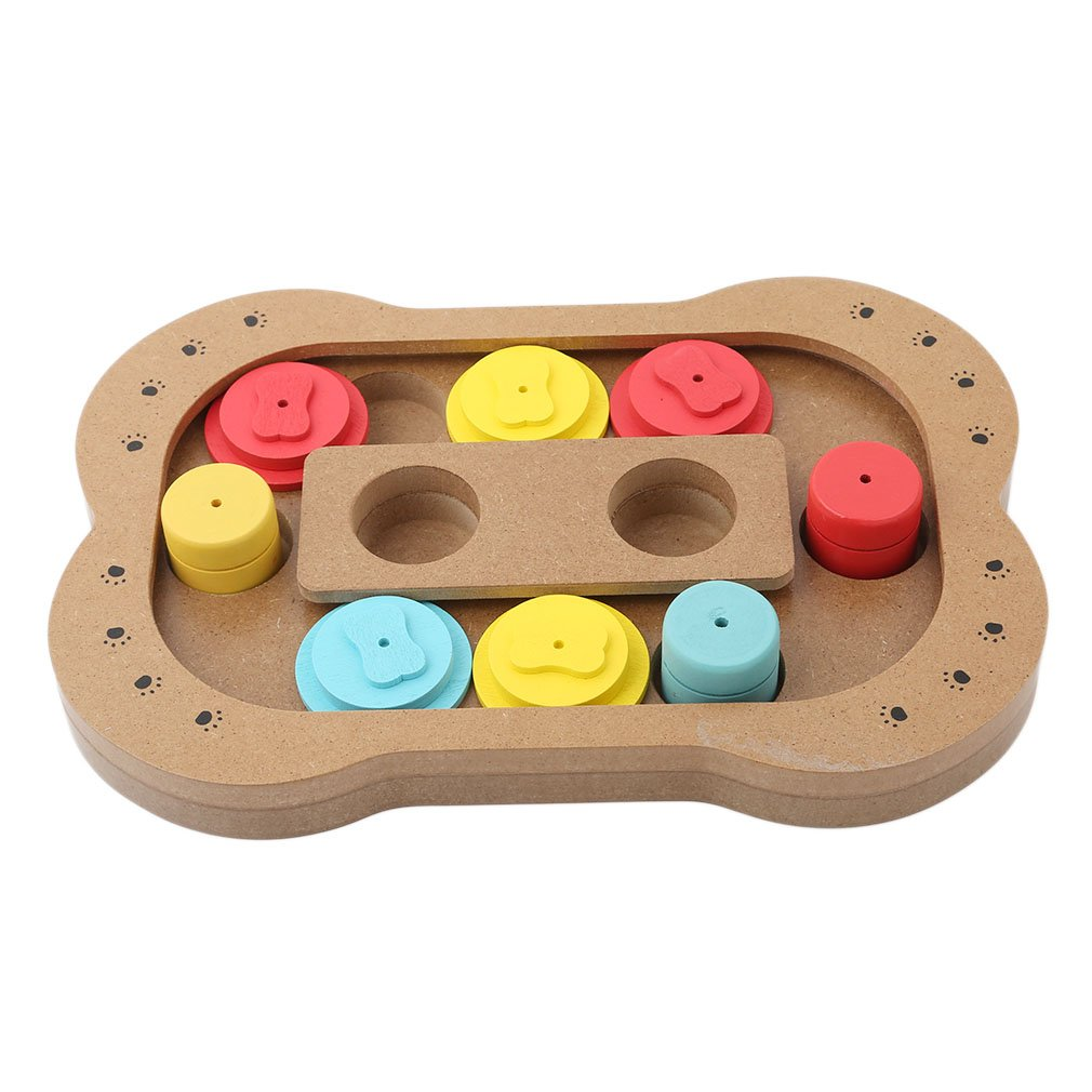 Meolin Cute Wooden Paw/Bone Shape Puzzle Dish Slow Pet Feed Bowl IQ Training Eudcational Games Plate Pet Intelligence Toy,Bone ,11.227.481.10in