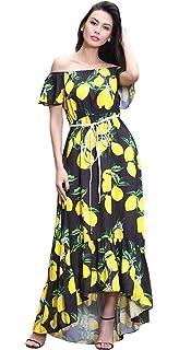 55c7e0994 TOPJIN Women's Plus Size Floral Printed Ankle Length Chiffon Summer Beach  Dresses