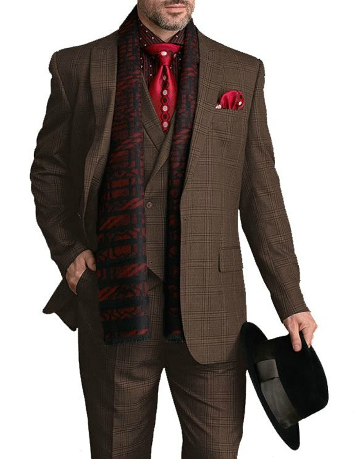 Men's Vintage Style Suits, Classic Suits Steven Land Mens Brown Plaid Single Button Three Piece Suit With Peak Lapels $219.00 AT vintagedancer.com