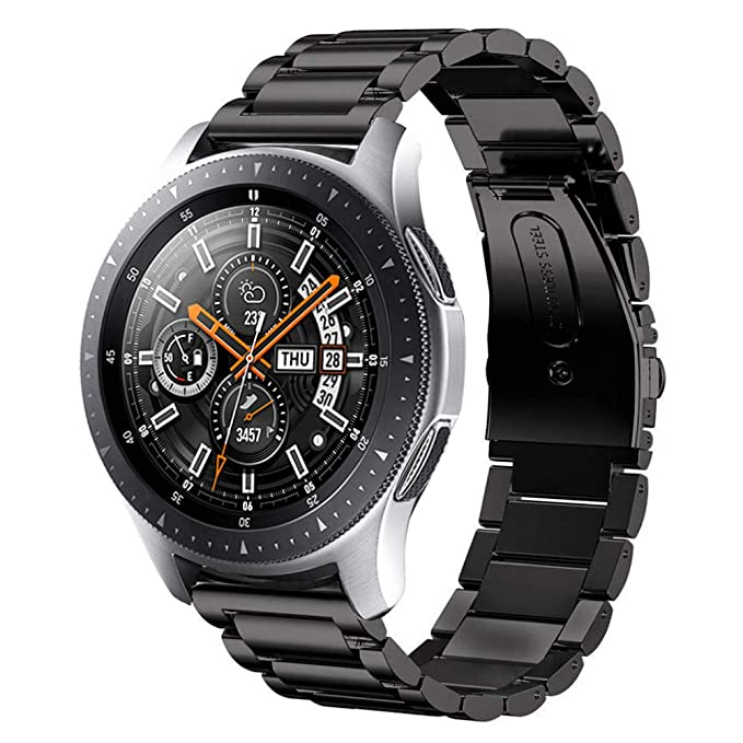 Sundaree Compatible con Correa Galaxy Watch 46MM,22MM Metal Acero Inoxidable Reemplazo Correa Banda Pulseras Reloj Inteligente con Metal Corchete para ...