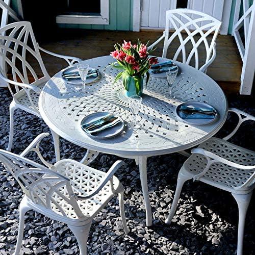 Lazy Susan Amy - Juego de muebles de jardín redondos (120 cm, 1 mesa blanca y 4 sillas de abril), color blanco: Amazon.es: Jardín
