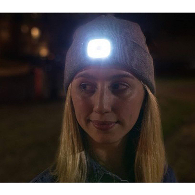 Hinten Led-M/ütze mit wei/ßen Hut mit aufladbaren USB-LED-Leuchten DPWELL Light Up Strickm/ütze Vorderseite und roten LEDs