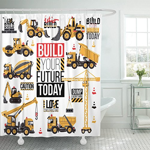 (TOMPOP Shower Curtain Range of Construction Machinery Positive Motivation Slogan Waterproof Polyester Fabric 60 x 72 Inches Set with Hooks )