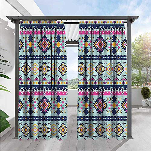 Marilds Aztec Outdoor Patio Curtains Abstract Shapes Latin Culture Darkening Thermal Insulated Blackout 108