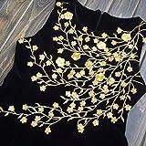 "Cutehill Handmade 13.38"" (34cm) Big Golden Flower Leaf Vines Embroidery Applique Patch, Plum Blossom Flower Patch, Iron on Applique, Flower Applique Patch"