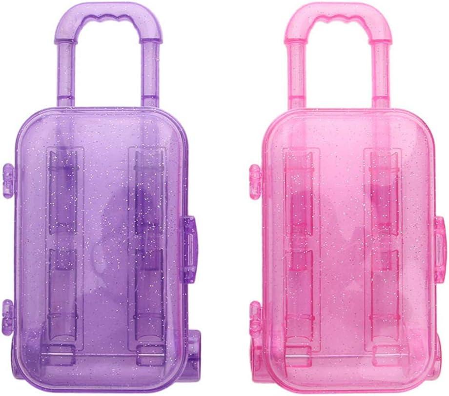 Elenxs Mini Tronco de plástico de 18 Pulgadas muñeca Viaje Equipaje Caja Maleta Trolley de la muñeca de Juguete niños