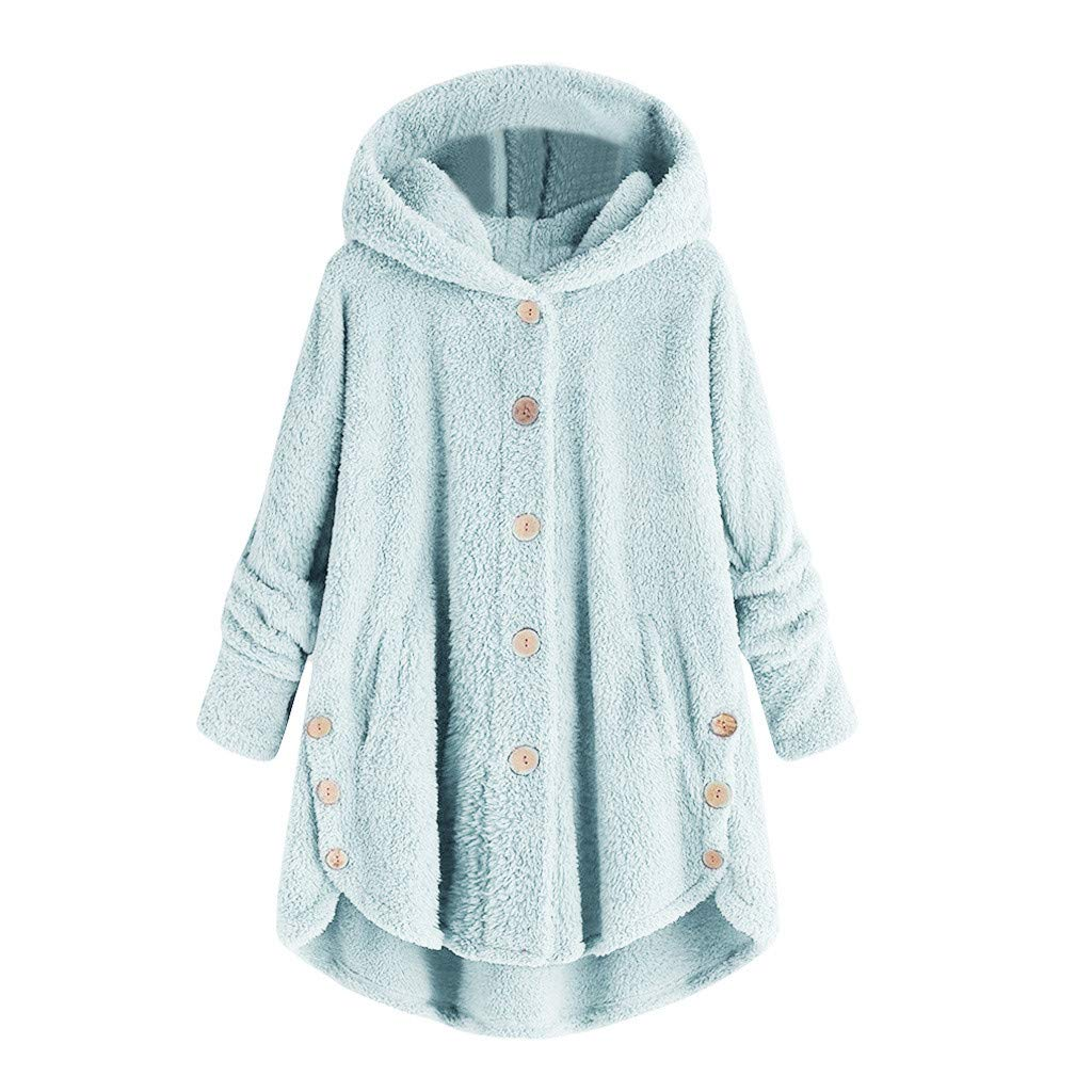 AOJIAN Women Jacket Long Sleeve Outwear Hooded Plush Button Pure Color Pocket Sweater Coat
