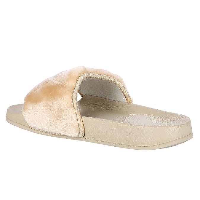 Damen Slipper Farrah Kunstpelz Gummi Schieber Sandalen Schuhe Hart Slipper Pantoffeln - Schwarz, 4 UK/37 EU Fantasia Boutique