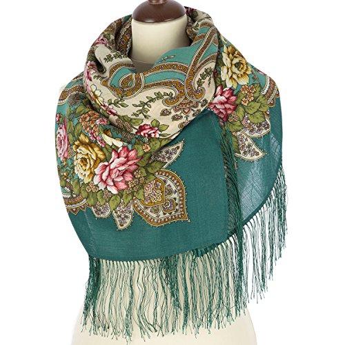 Pavlovo Posad Russian Shawl Scarf Wrap Fairy-tale motifs Green Wool 49x49''