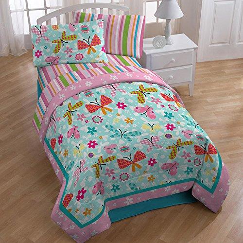 Just For Kids Flutter Flower 3-Piece Twin / Full Quilt (Butterfly Quilt)