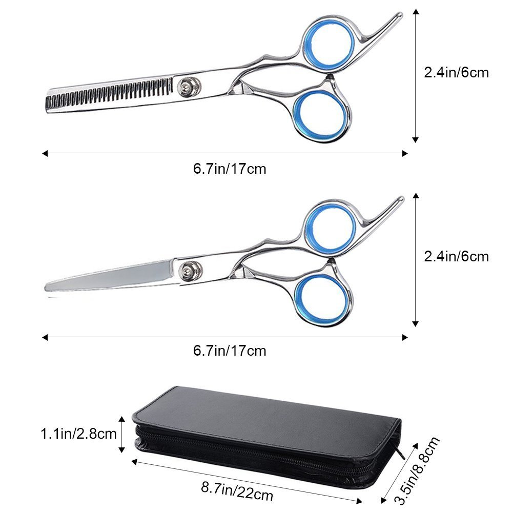 Hair Scissors Set, Professional Stainless Steel Barber Hair Cutting Shears, Razor Edge Scissors with Adjustment Screw, Thinning Texturizing Scissors with Clips, Cleaning Cloth, Comb, Leather Case by FHCHO (Image #3)