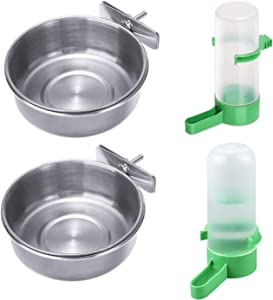 4 Pack Bird Parrot Food and Water Dish; 2 Stainless Steel Bird Parrot Food Feeding Cups and 2 Plastic Birds Water Feeder Water Dispenser Bottle for Chinchilla, Ferret, Cockatiel, Conure, Parakeet