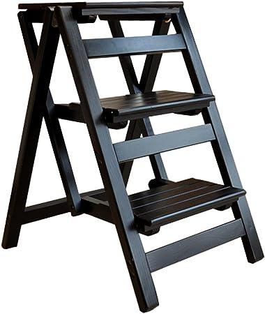 LAXF- Sillas Escalera Plegable Madera Hogar Escalera Multifuncional de Madera Maciza Escalera Plegable de Tres escalones Escalera portátil de Madera pequeña (Color : C): Amazon.es: Hogar