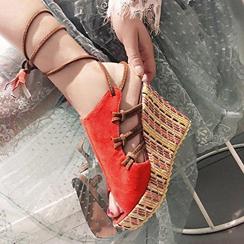 Troddel Keilabsatz Peep Aisun Durchgängig Damen Plateau Toe mit Rot Schnürung Sandale Schnürer aTpFTq