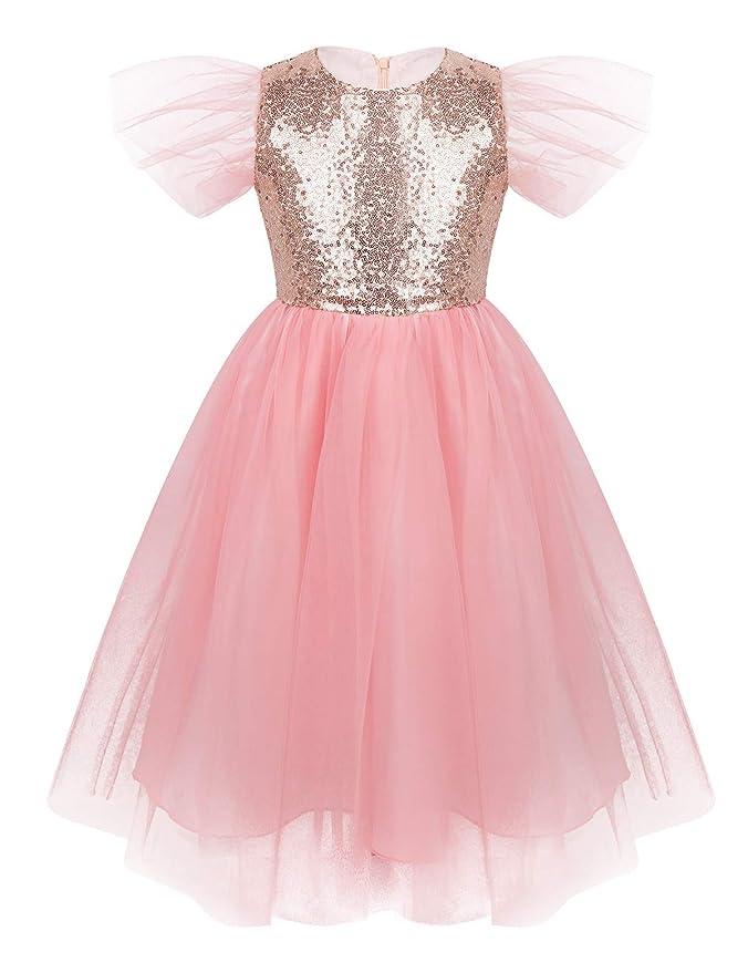inlzdz Vestido de Princesa Niña 4-12 AñosLentejuelas Brillantes ...
