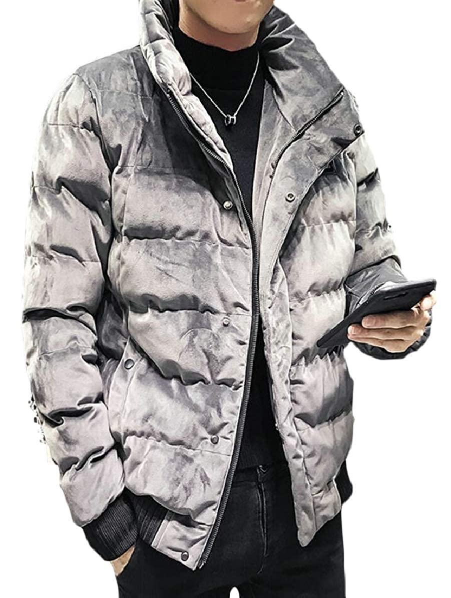 FLCH+YIGE Mens Thicken Front-Zip Quilted Stand Collar Hipster Velvet Down Jacket Coat