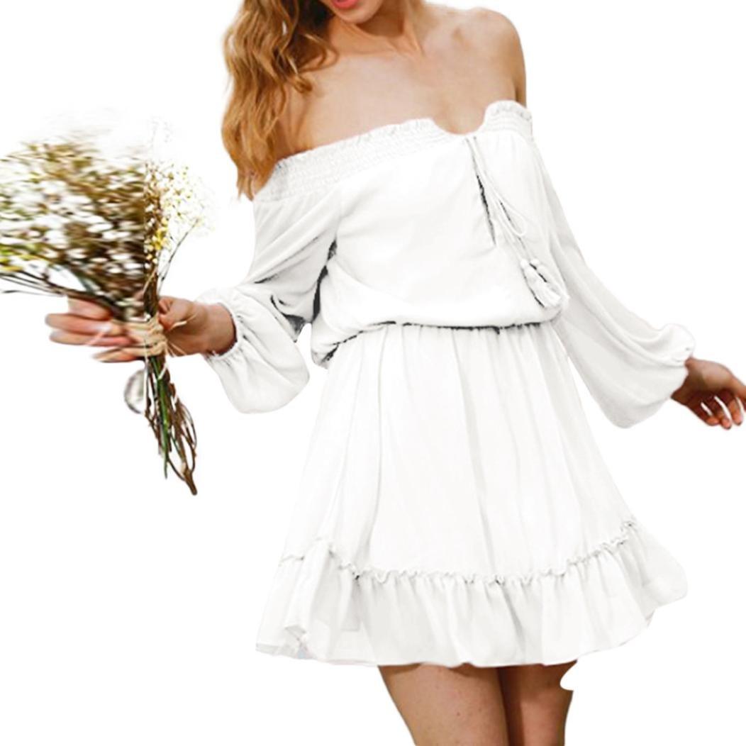 Spbamboo Women Off Shoulder Ruffle Chiffon Mini Dress Party Chic Warp Sundress