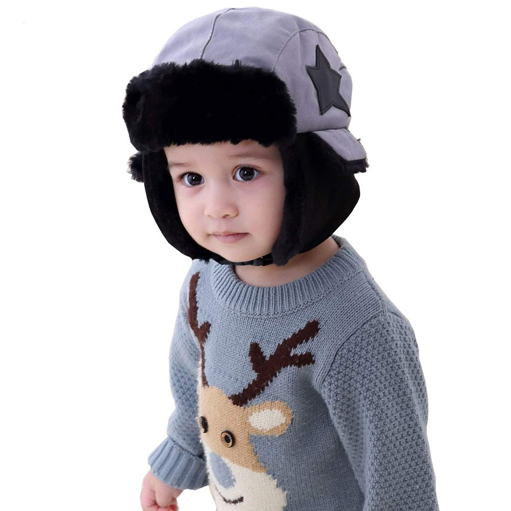 Moon Kitty Boys Winter Hats Big Kids Cowboy Cloth/Aviator Winter Earflap Cap
