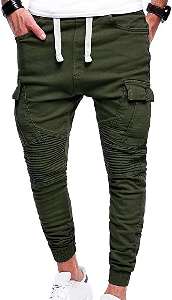 Spirio Mens Plus Size Pockets Drawstring Jogger Multi Pockets Cargo Pants