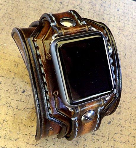 Apple Watch Cuff, apple watch strap, Brown watch strap, Leather strap for Apple watch, 38 or 42mm models by Cuckoo Nest Art Studio