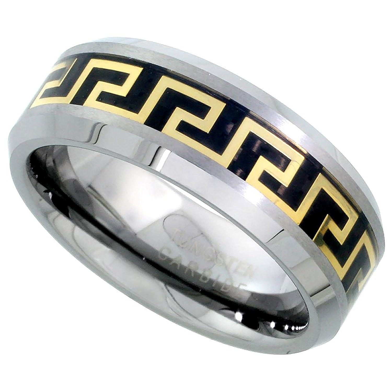 8mm Tungsten 900 Wedding Ring Gold Greek Key Inlay Beveled Edges Comfort fit, sizes 7 - 14